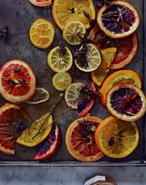 Citrus fruit on a baking pan