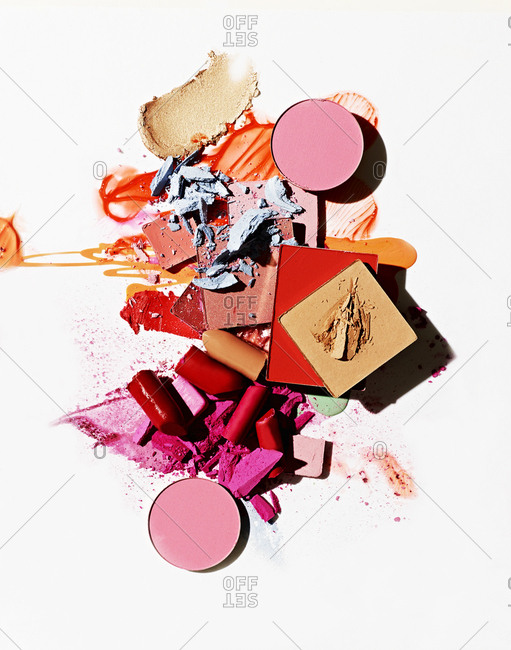 A pile of broken makeup