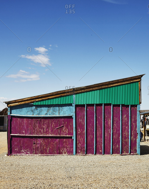 Brightly painted structure, New Mexico