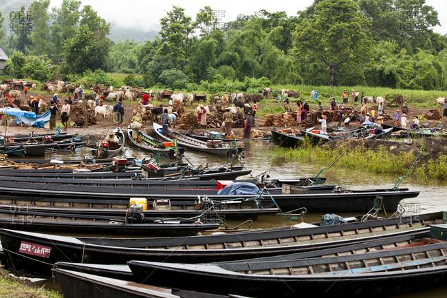 Inle Lake, Shan State, Myanmar - August 20, 2011: Thaung Tho Kyaung market, Inle Lake, Myanmar