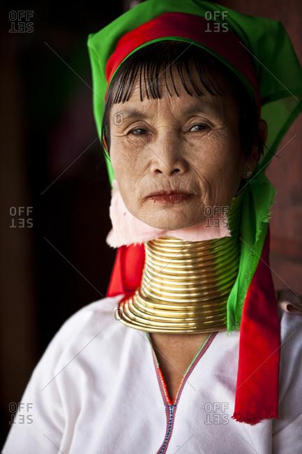 Inle Lake, Shan State, Myanmar - August 20, 2011: Padaung woman, Inle Lake, Myanmar