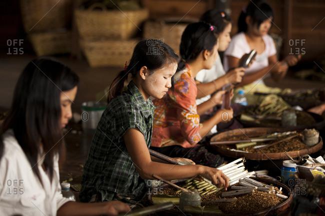 Inle Lake, Shan State, Myanmar - August 20, 2011: Young women making cigars, Inle Lake, Myanmar