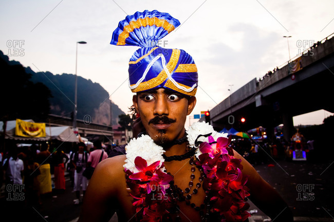 Gombak, Malaysia - January 20, 2011: A man in a trance during kavadi procession