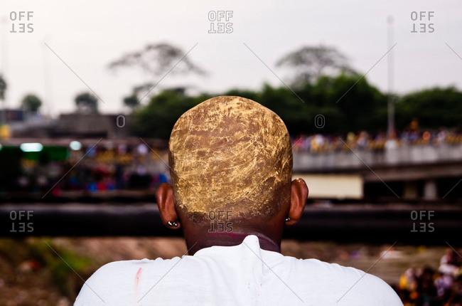 Man watching the kavadi procession