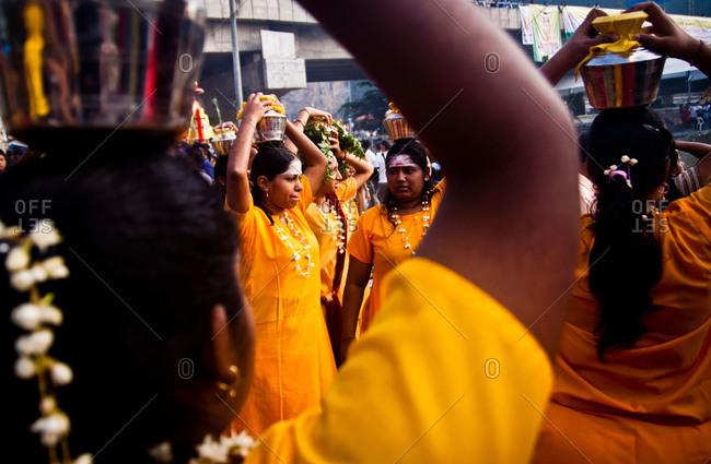 Gombak, Malaysia - January 20, 2011: Kavadi bearers in Malaysia festival