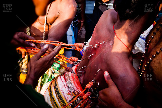 Kavadi hooks in man's back