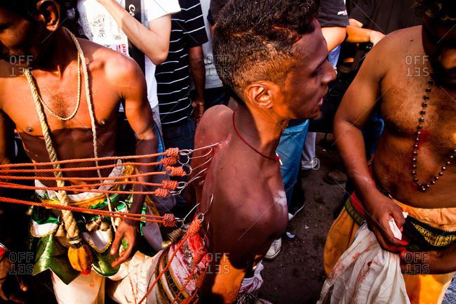 Gombak, Malaysia - January 20, 2011: Kavadi hooks in a man's back