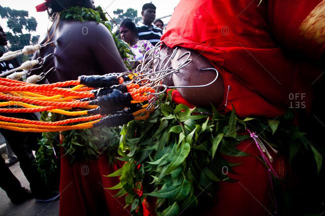 Gombak, Malaysia - January 20, 2011: Hooks in flesh for kavadi festival