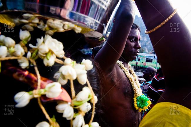 Gombak, Malaysia - January 20, 2011: Kavadi bearers at kavadi festival