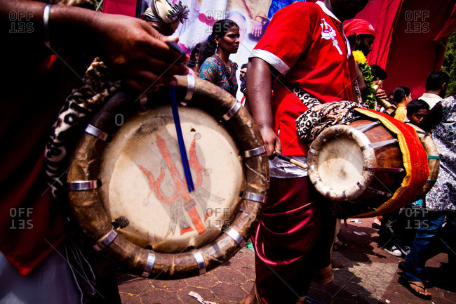 Gombak, Malaysia - January 20, 2011: Procession drummers at kavadi festival
