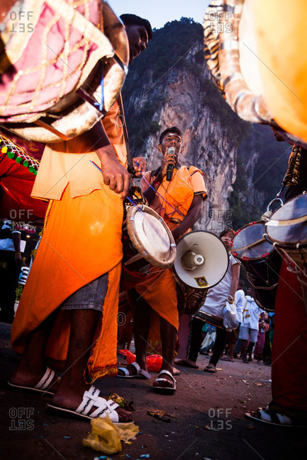Gombak, Malaysia - January 20, 2011: Drummers at start of kavadi festival procession