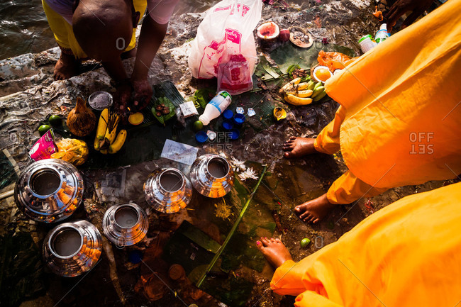 Gombak, Malaysia - January 20, 2011: Making offerings during kavadi festival