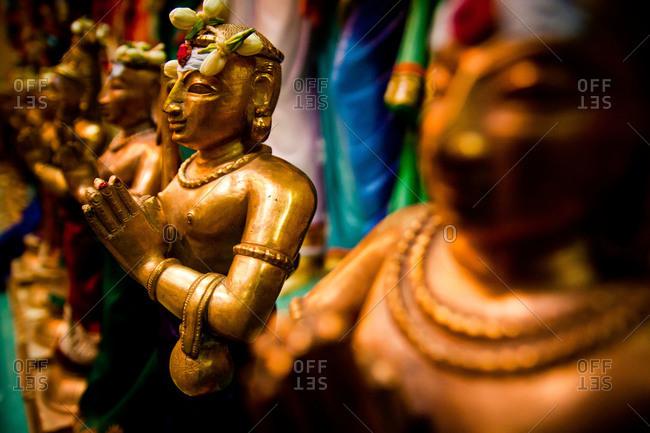 Hindu statues inside Sri Mahamariamm temple