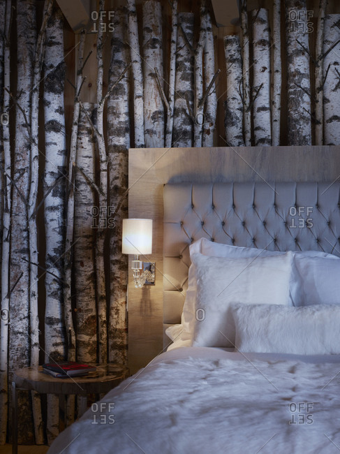 Birch trunks decorating the wall of a bedroom