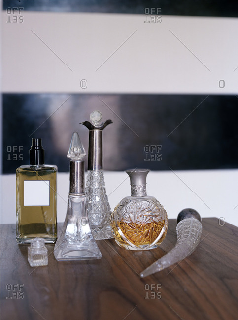 Perfume bottles in different shapes and sizes