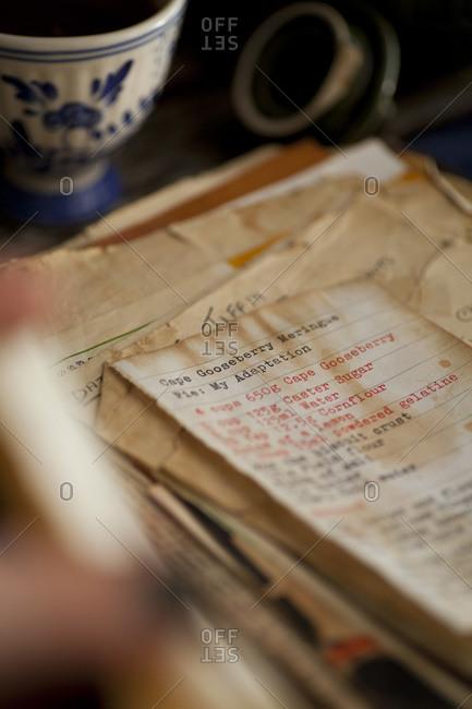 A family recipe book