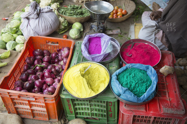 Powdered paint for sale at a market during Holi festival in Mathura, India