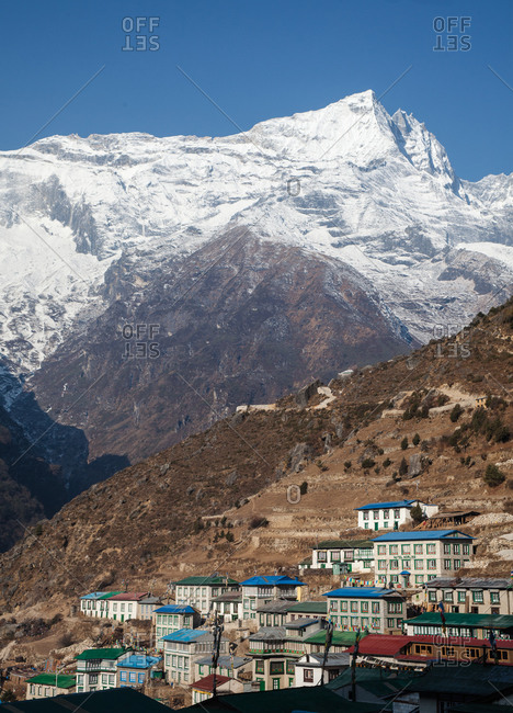 The village of Namche Bazaar with Kongde Ri peak in the background, Nepal