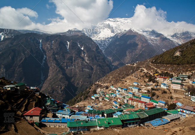 The village of Namche Bazaar in the Himalayas, Nepal