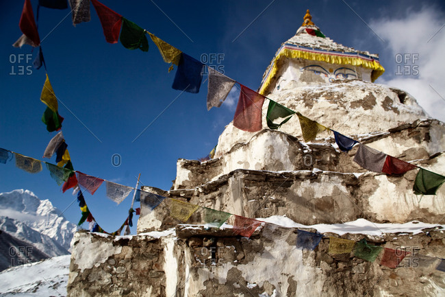 Stupa decorated with prayer flags in the Sherpa village of Dingboche, Nepal
