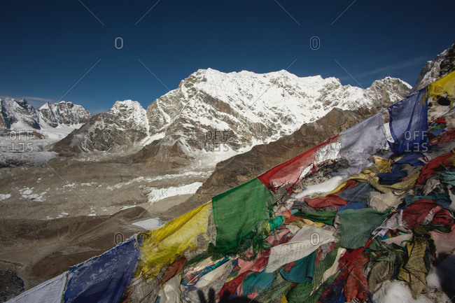 Weathered prayer flags in the Himalayas, Nepal