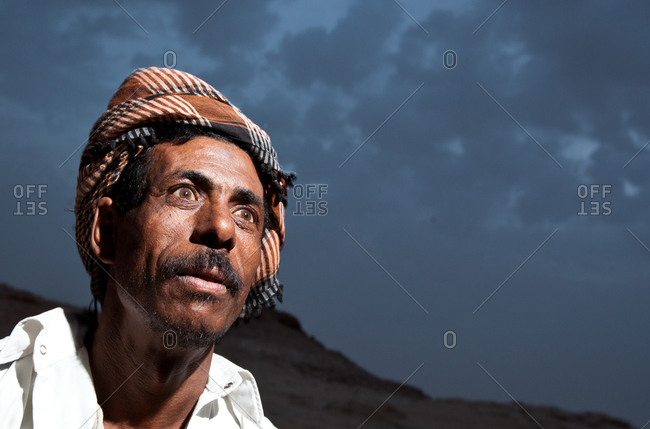 Portrait of a man in the Sahara Desert