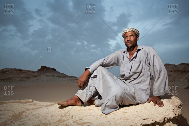 Portrait of a camel-keeper in the Sahara Desert