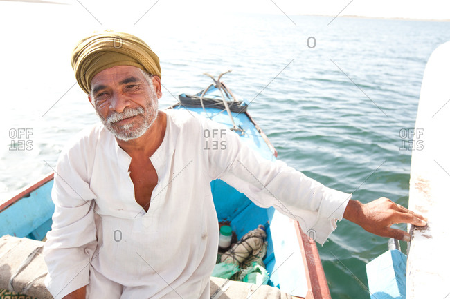 Portrait of a boatman on Lake Nasser, Egypt