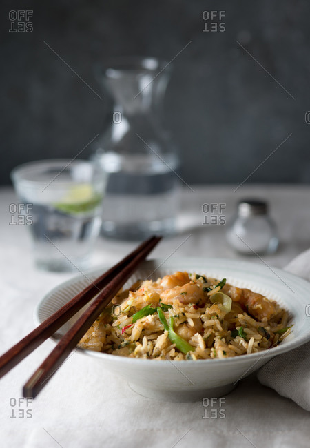Fried coconut rice with shrimp