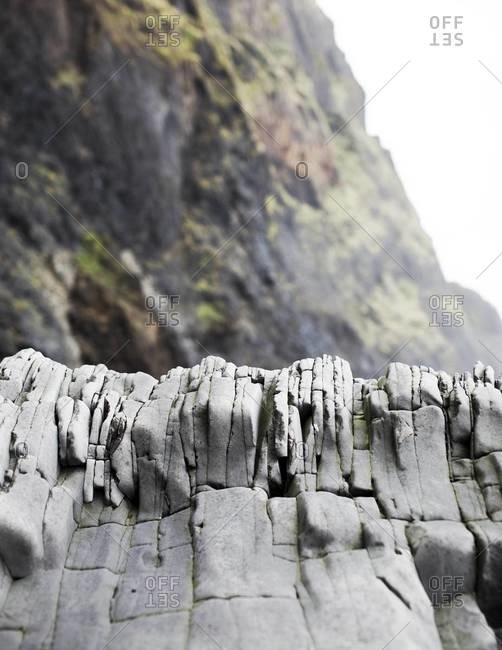 Basalt rock formations on the Reynisfjara beach near Vik, Iceland