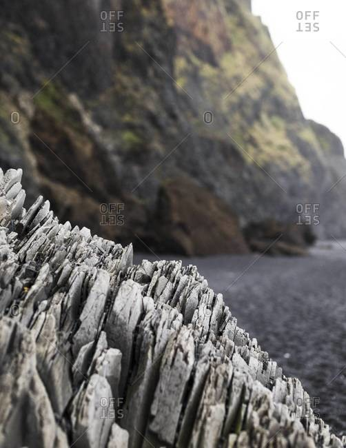 Basalt rock formations on the Reynisfjara beach in Iceland