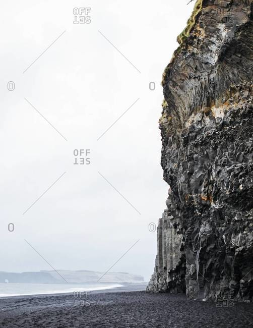 The basalt step-columns on the Reynisfjara shore near Vik, South Iceland