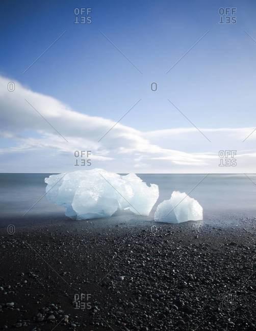 An iceberg at Jokulsarlon, a glacier lagoon in Southeast Iceland