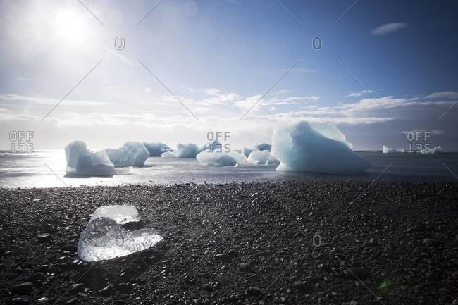 Many icebergs at Jokulsarlon, a glacier lagoon in Southeast Iceland