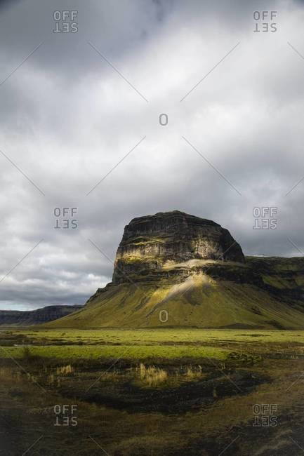 A tall rocky plateau in Iceland