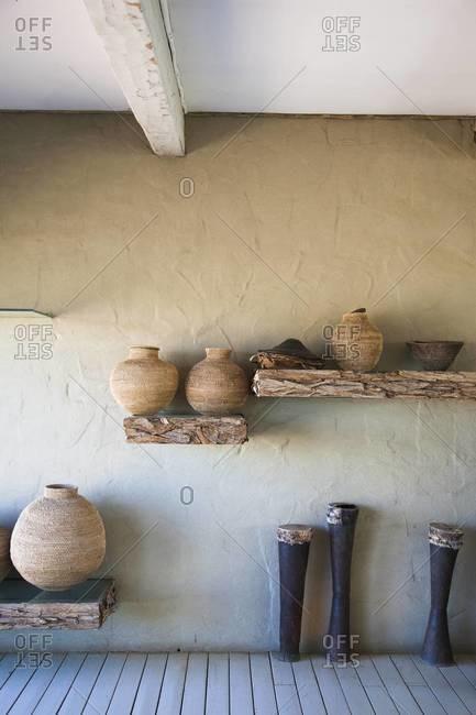 A decorative arrangement in a hotel lobby in Sossusvlei, Namibia