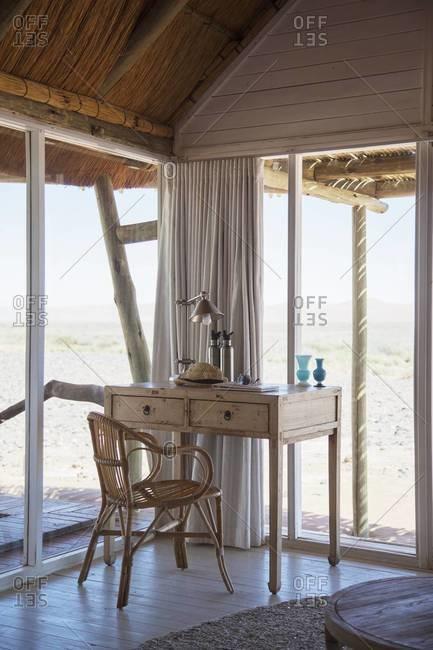 The desk in a hotel villa bedroom, Sossusvlei, Namibia