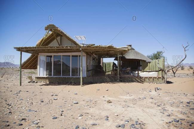 The exterior of a hotel villa in Sossusvlei, Namibia