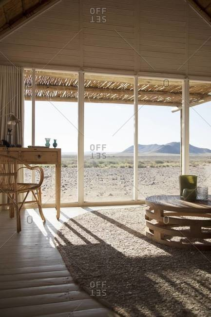A villa bedroom at a hotel in Sossusvlei, Namibia