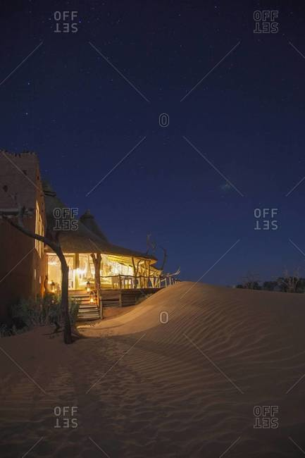 A hotel at night in Sossusvlei, Namibia