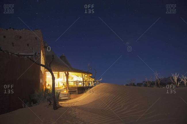 A hotel at night, Sossusvlei, Namibia