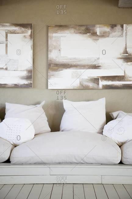 Cushions in a hotel lobby in Sossusvlei, Namibia
