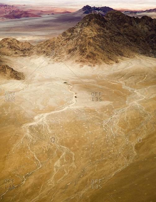 The dry desert landscape in Sossusvlei, Namibia