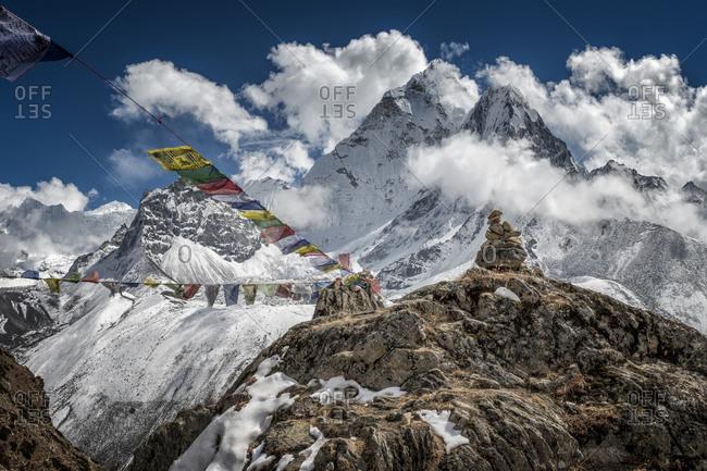 Ama Dablam and prayer flags, Everest region