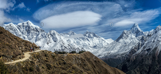 View into the Khumbu valley with Everest and Ama Dablam, Everest region