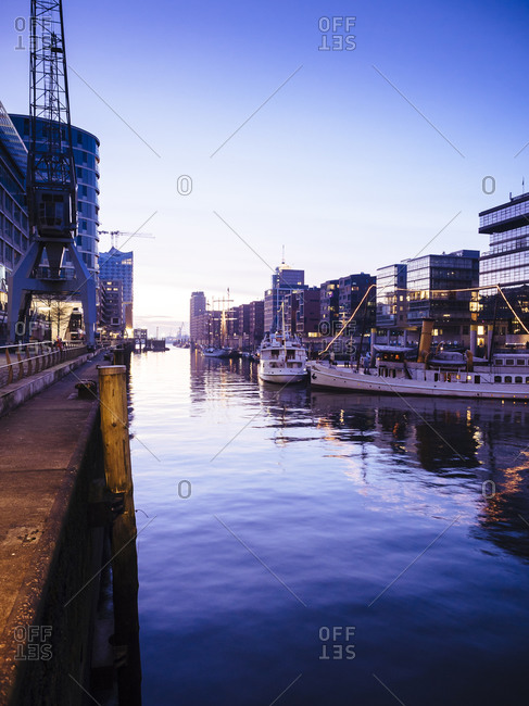 Hamburg, Germany - March 5, 2015: Magellan Terraces at the Harbor city at dusk