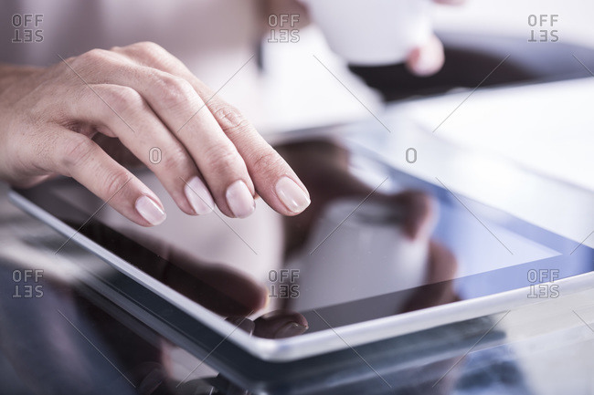 Woman working on a tablet