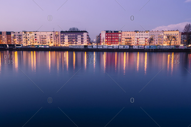 Berlin, Germany - March 2, 2015: Houses at River Spree in the evening