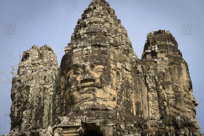 Entry gate to Angkor Thom in Angkor Wat, Cambodia