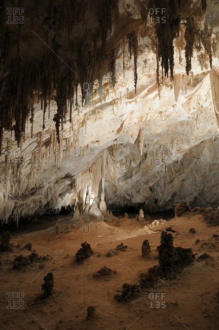 Stalactites and stalagmites in the Carlsbad Caverns National Park, New Mexico